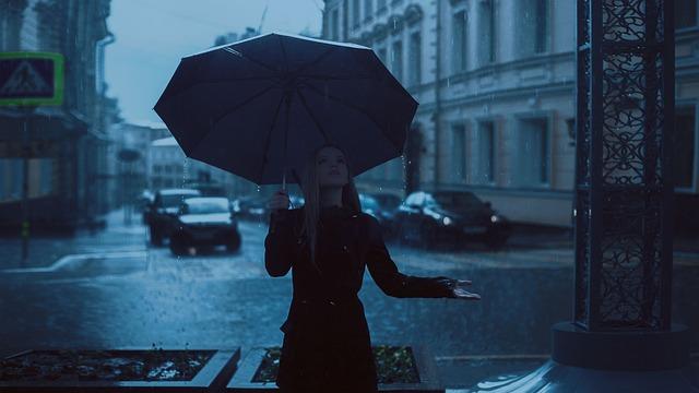 雨の日に傘をさす